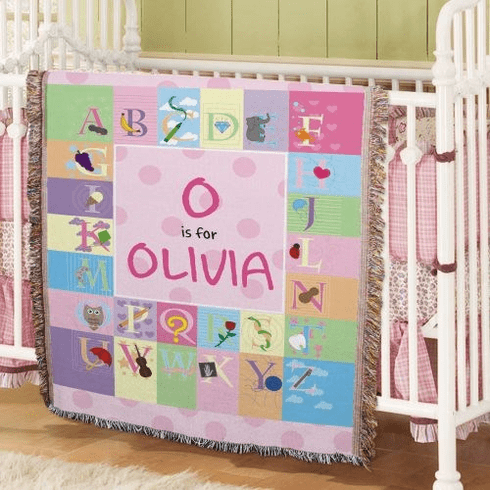 Personalized Baby Girl Alphabet Throw