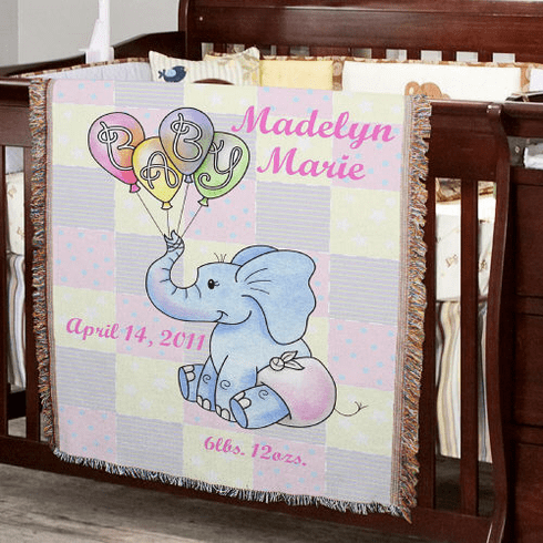 Personalized Baby Girl Elephant Throw Blanket