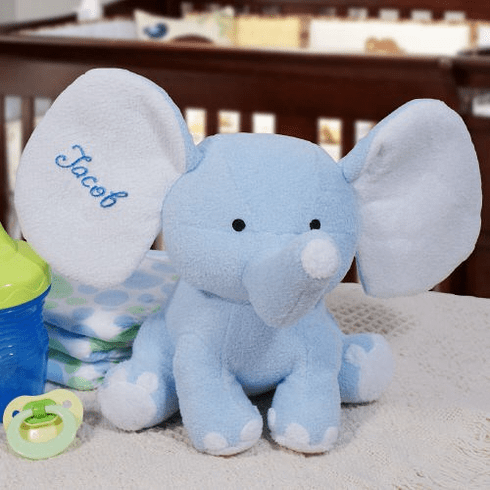 Personalized Blue Plush Elephant