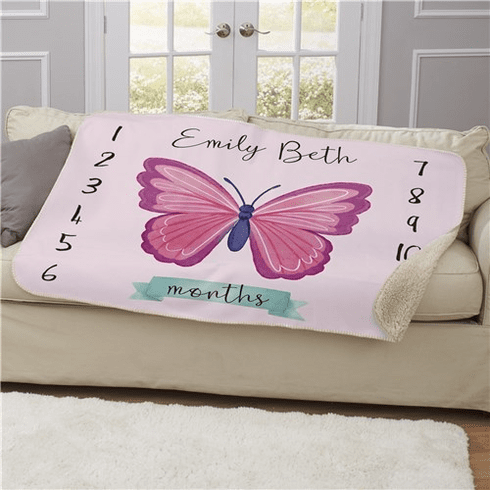 Personalized Butterfly Baby Monthly Milestone 50x60 Sherpa Blanket