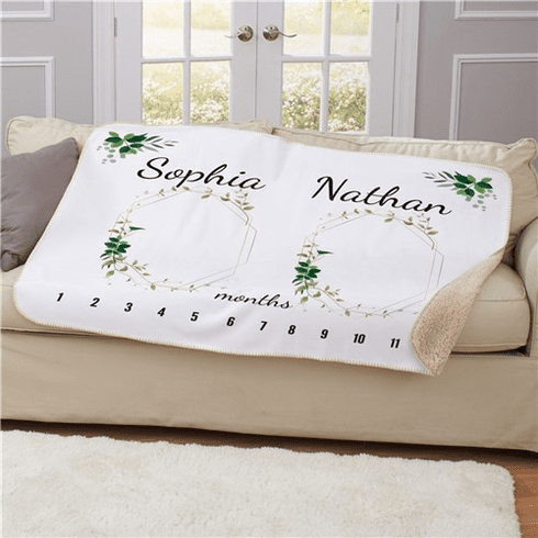 Personalized Frames With Leaves Baby Monthly Milestone 50x60 Sherpa Blanket