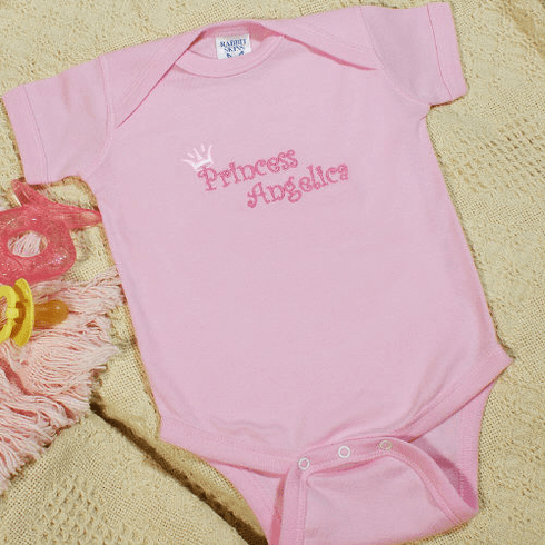 Personalized Princess Embroidered Baby Romper