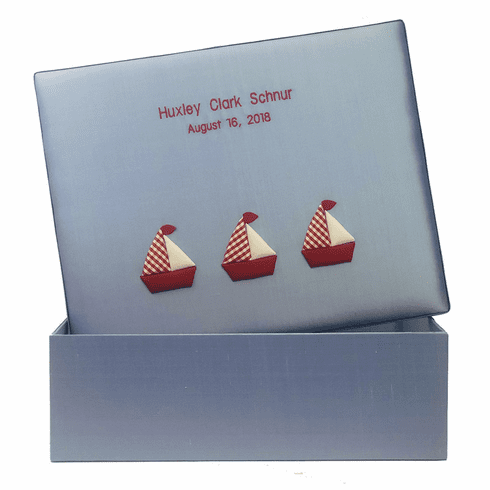 Red & White Sailboats Personalized Baby Keepsake Box - Large