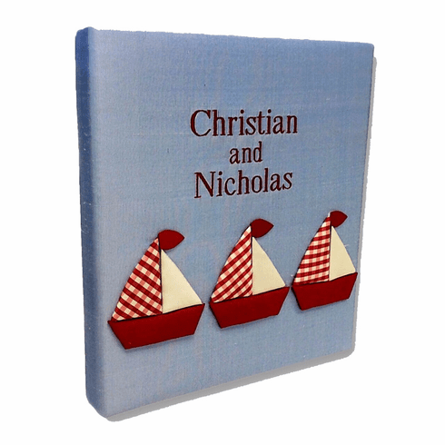 Red and White Sailboats Personalized Baby Memory Book