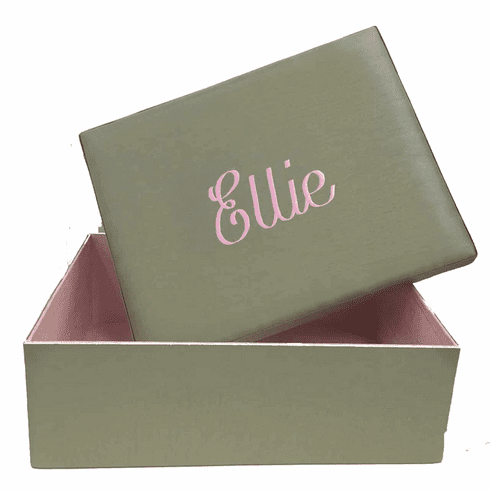 Silk Shantung Personalized Baby Keepsake Box - Large