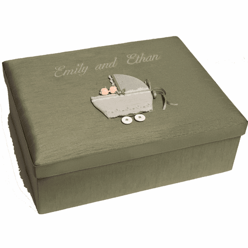 Twins in Buggy Personalized Baby Keepsake Box - Large