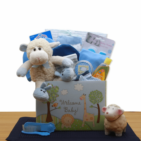 Welcome New Baby Blue Gift Box