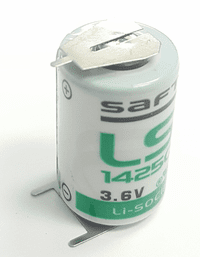 SAFT LS 14250 Lithium Battery with 3-Pin (2-pin [-] 10mm), 1/2AA-Size 3.6 Volts
