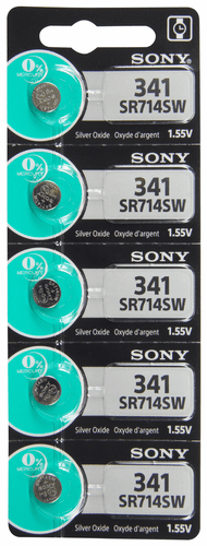 Sony 341TS 5-Pack, SR714SW Silver Oxide Button Cell Batteries