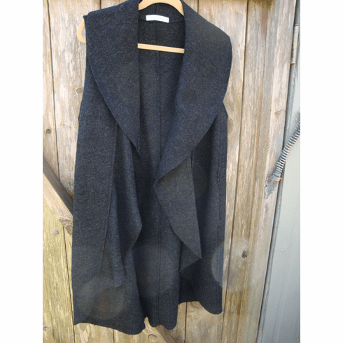 boiled wool waterfall long vest