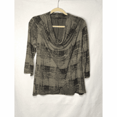 burst plaid cowl neck top