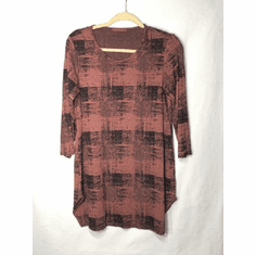 burst plaid long top