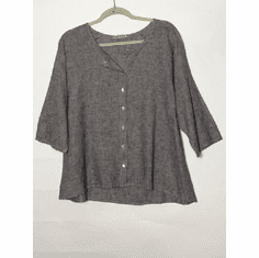 crosshatch collarless shirt