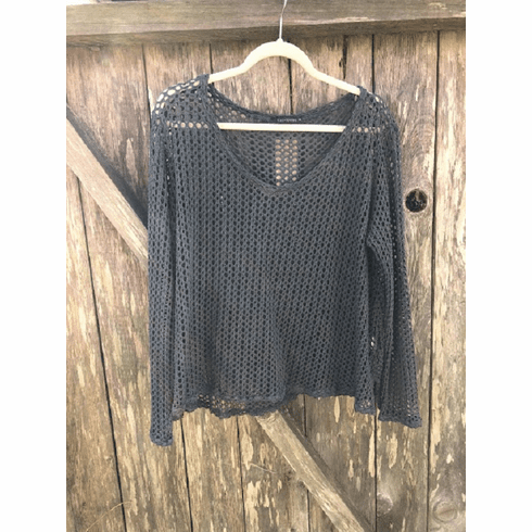 fishnet v-neck pullover
