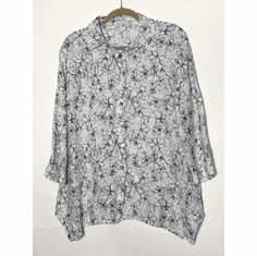 graphic floral button shirt