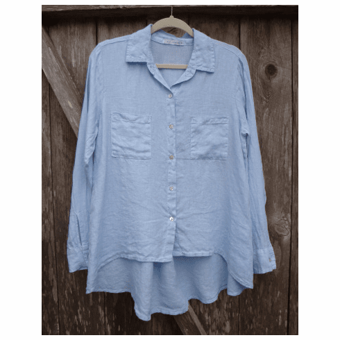 hanky linen hi-low shirt