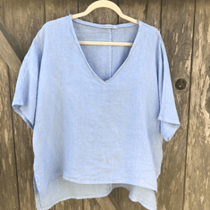 hanky linen Osize v-neck top