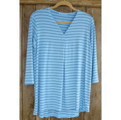 indigo stripe pleat top