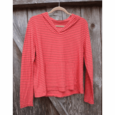 lentil linen stripe hooded pullover