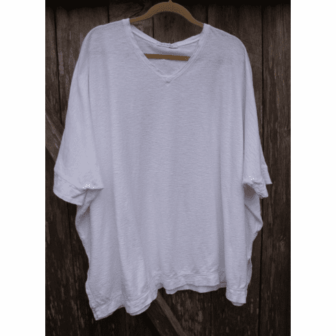 lightweight cotton linen Osize v-neck top