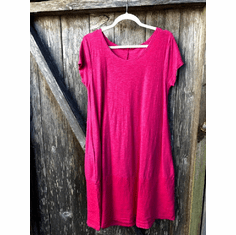 linen combo border dress