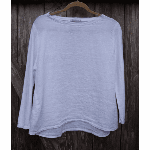 linen combo jewel neck top