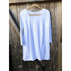 linen combo raw edge tunic