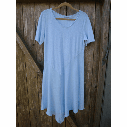 linen/cotton combo asym peplum dress