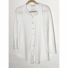 linen jersey button front shirt