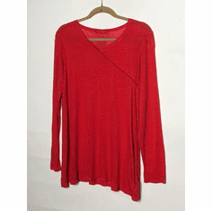 linen sweater faux wrap top