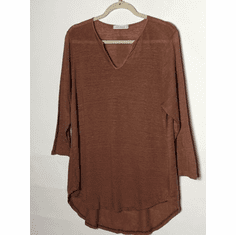 linen sweater split neck pullover