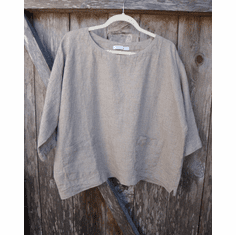 natural linen boxy pocket top