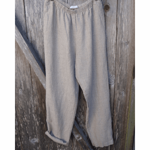 natural linen roll up pant