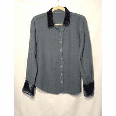 natural linen velvet trim shirt