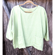 solid linen boxy top