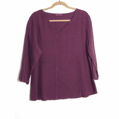 solid linen v-neck top