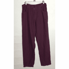 solid linen zip crop pant