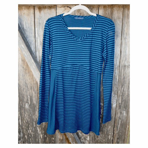 tencel stripe v-neck tunic