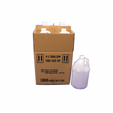 1 Gallon Square Polyethylene Bottles With Shipping Boxes,4 Pack