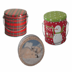 1 lb Round Tin w/Cover Decorated Tartan Plaid, 24 Pack