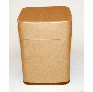 10 Gallon Square All-Fiber Corrugated Cardboard Drum With  Corrugated Cardboard Lid