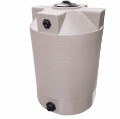 "100 Gallon Plastic Water Storage Tank | Long-Term Water Storage | 30"" Diameter x 42"" Height with Manway Cover, Inlet Bulkhead Fitting, & Outlet Bulkhead Fitting"