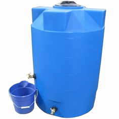 "100 Gallon  Poly-Mart Heavy Weight Emergency Water Storage Tank | Plastic Water Storage Storage | 30"" Diameter x 42"" Height , Color;Light Blue"