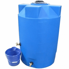 "1150 Gallon  Emergency Water Storage Tank | Plastic Water Storage Storage |  Dimensions: 63"" Diameter x 90"" Height-Light Blue"