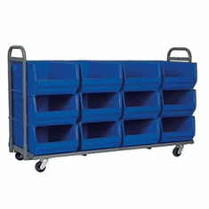 "12 Bin Cart, 28"" Deep, Super-Size AkroBin®, Holds 12 Bins 830290, 1500 lb Capacity"