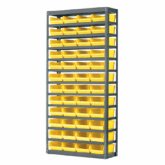 "18"" Multi-Bin Steel Shelving System For Bin 830318 Yellow 11 Shelves"