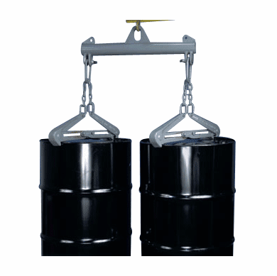2 Drum, 1500 lb Capacity Heavy Duty Drum Lifter With Steel Chime Tongs