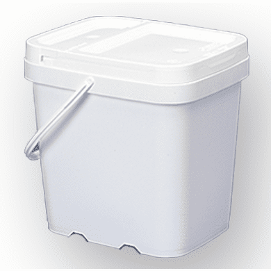 2 gal. Square Ez Stor® Bucket Pail and lid, w/handle , 6 Pack | Included Reclosable Lids
