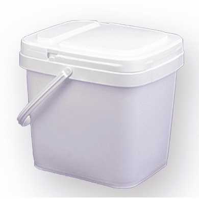 3.5 gal Square  Ez Stor® Bucket Pail and lid,w/handle, 6 Pack