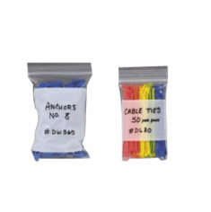 """4 Mil Ziplock Reclosable Poly Bags with White Block 8"""" x 8"""" Dimension"""